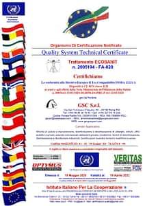 Certificazione di eco compatibilità 2020 rilasciata alla GSC Servizi