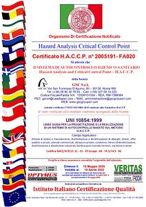 GSC Servizi ditta certificata UNI 10854-1999 HACCP