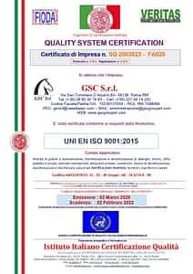 La ditta GSC Servizi certificata UNI EN ISO 9001 ed. 2015